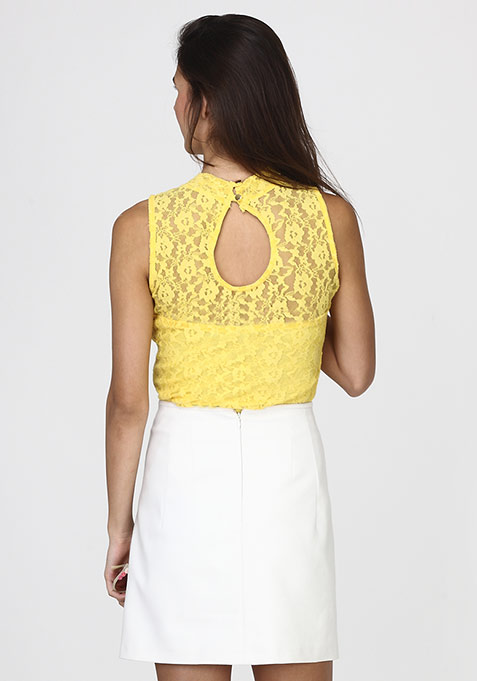 Sweet Side Lace Blouse - Yellow