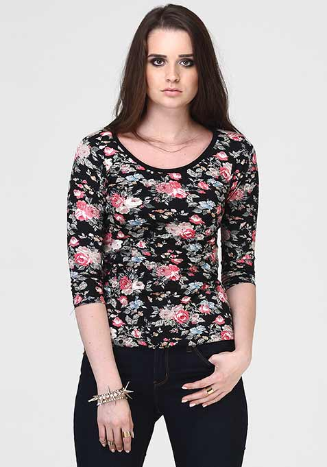 Sassy Back Floral Tee