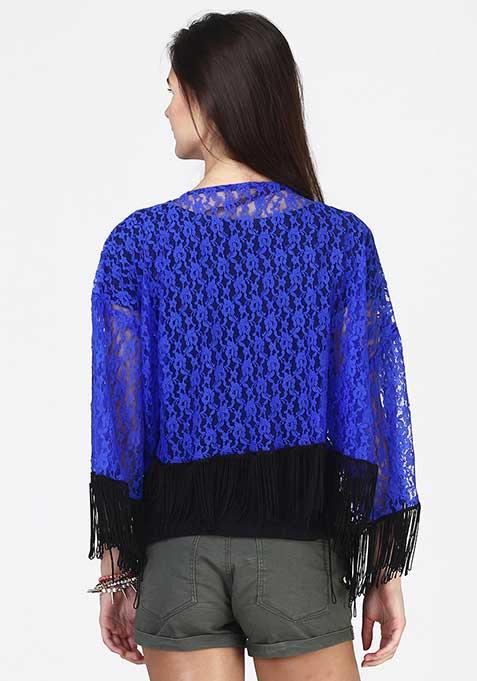 Lace Fall Kimono - Blue