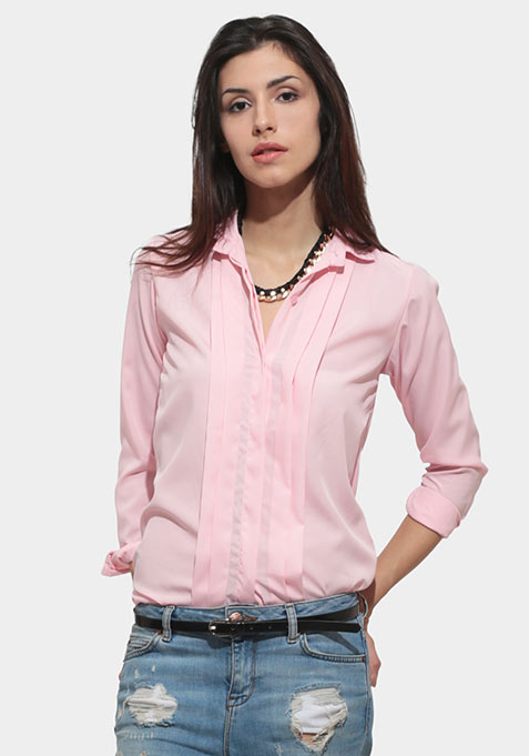 Chic Pleat Shirt - Blush