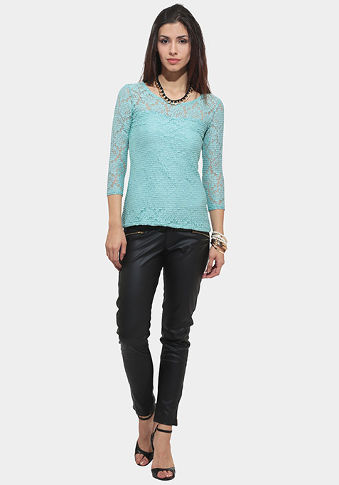 Soft Shell Lace Top - Blue