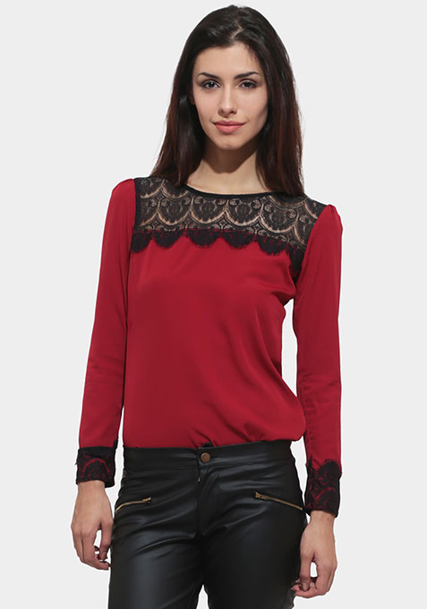 Lace Trace Top - Maroon