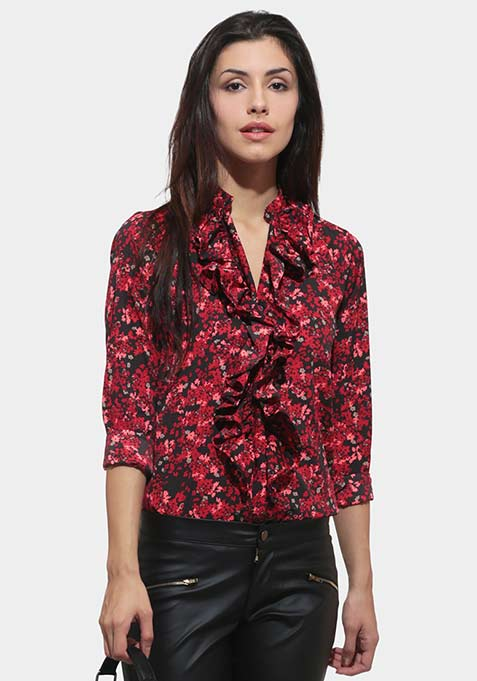 Ruffle Out Shirt - Floral