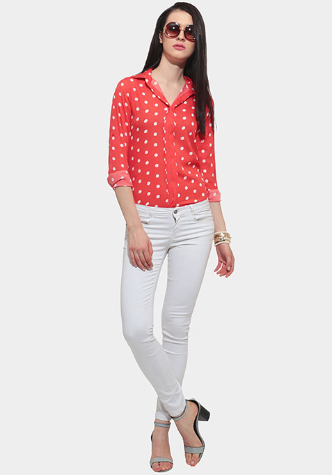 Between The Pleats Blouse - Coral