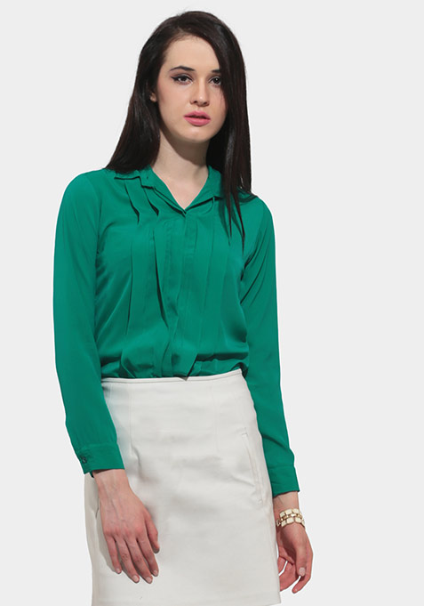 Chic Pleat Shirt - Green