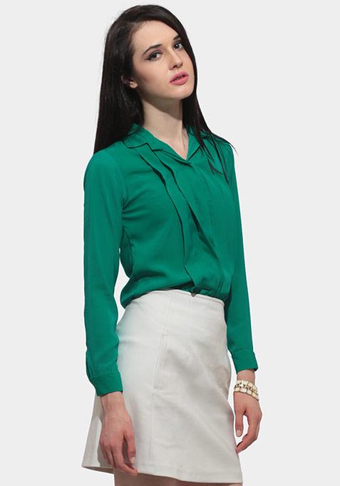 Chic Pleat Shirt - Green