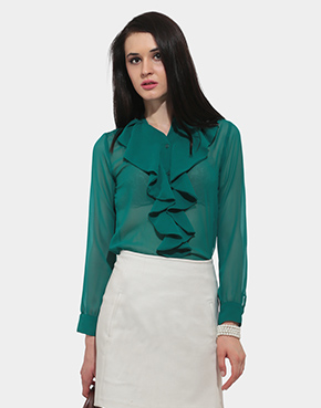 Emerald Crush Ruffled Shirt