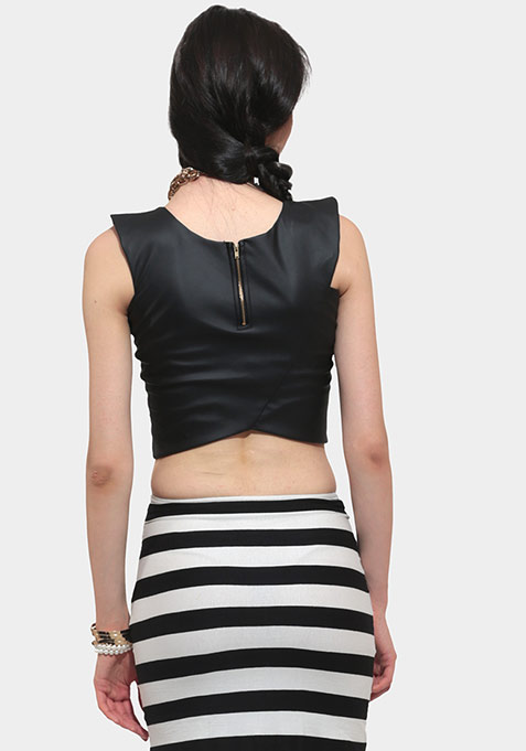 Gear Up Leather Crop Top