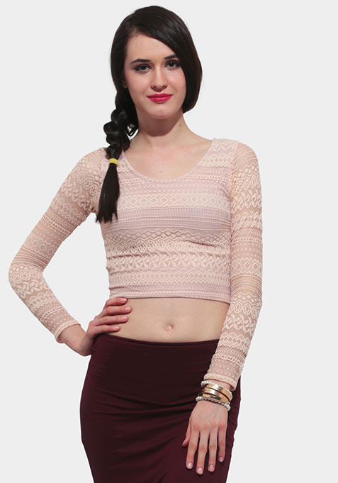 Lace Escape Crop Top - Nude