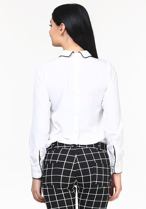 Pleat Punch Shirt - White