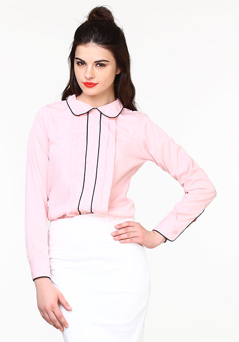 Pleat Punch Shirt - Blush