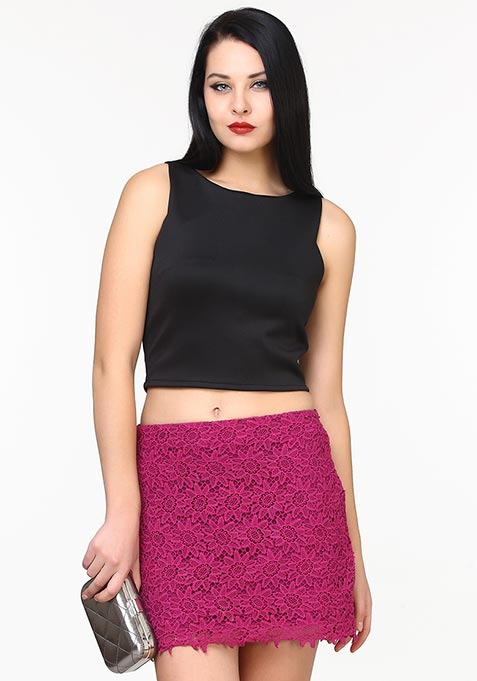 Go Glam Scuba Crop Top - Black