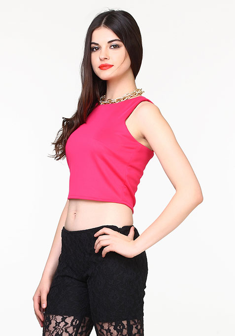 Go Glam Scuba Crop Top - Pink