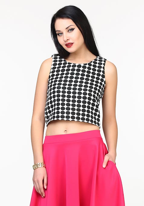 Jacquard Jazz Crop Top - Polka