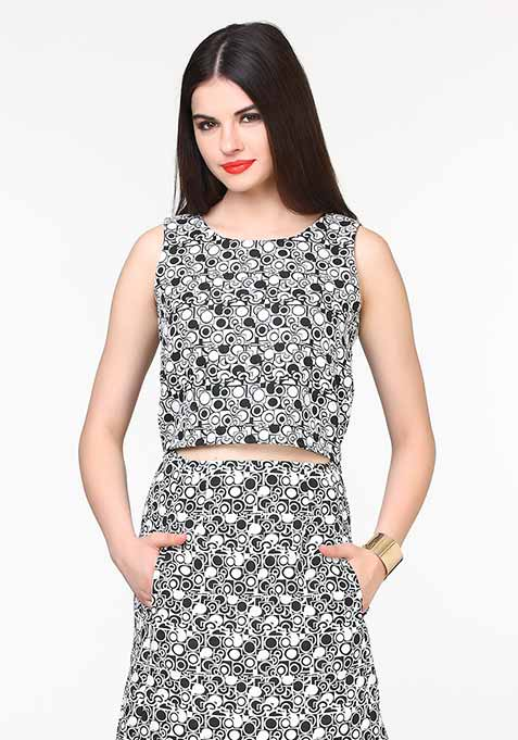 Jacquard Jazz Crop Top - Aztec