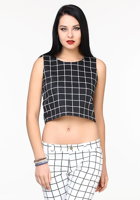 Black Grid Crop Top