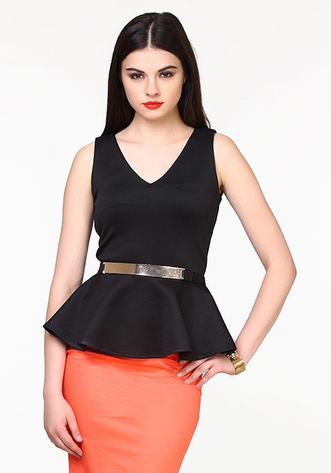 Peplum Plush Belted Top - Black
