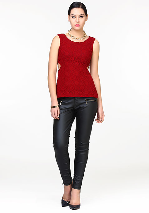 Side Sass Lace Top - Oxblood