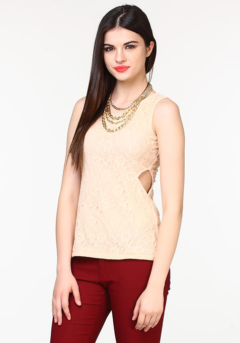 Side Sass Lace Top - Nude