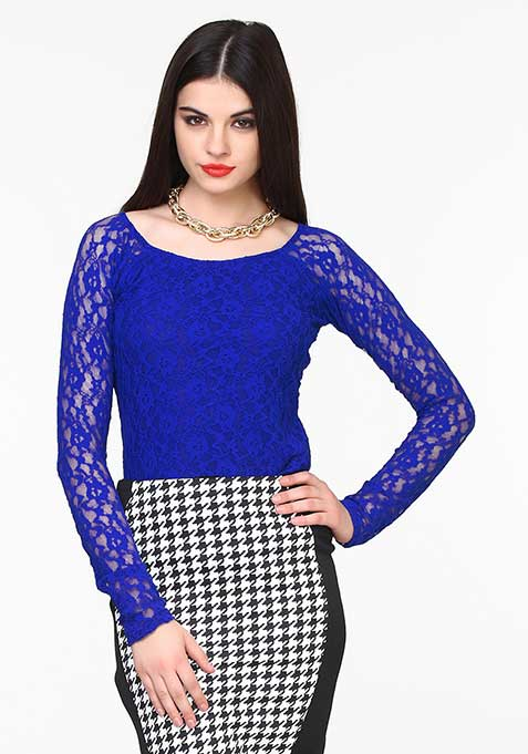 Lace Luxe Top - Blue