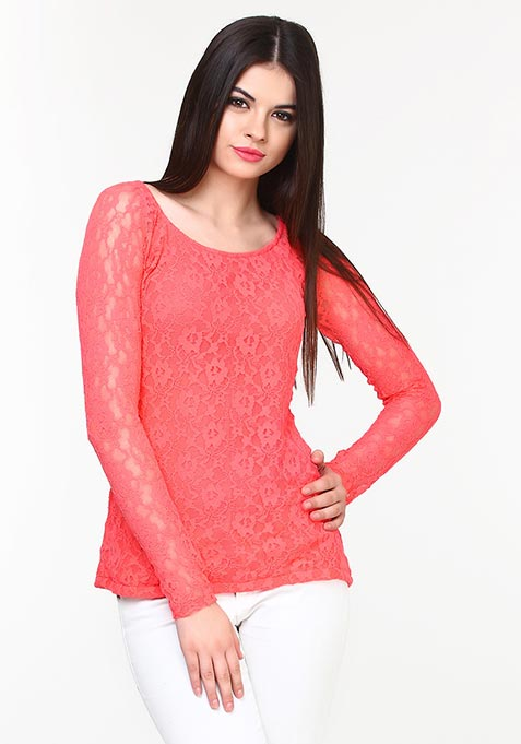 Lace Luxe Top - Coral