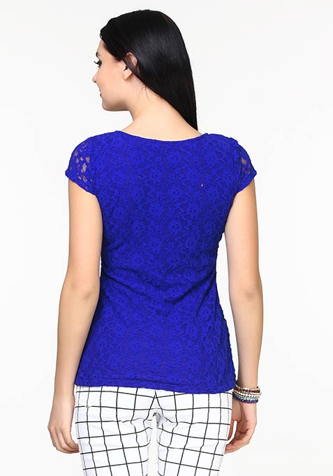 Lace This Top - Blue