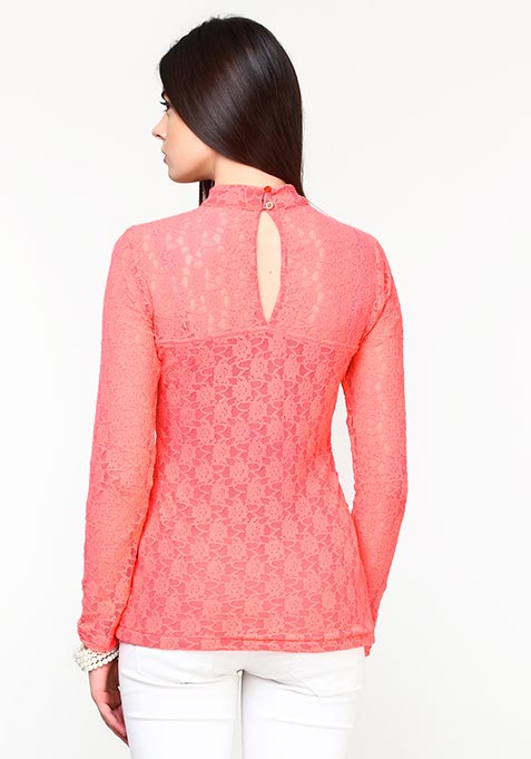 Totally Laced Top - Coral