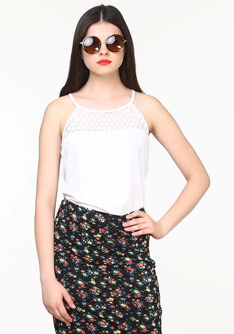 Lace Touch Cami - White