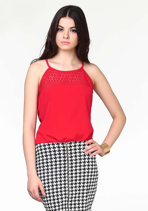 Lace Touch Cami - Red