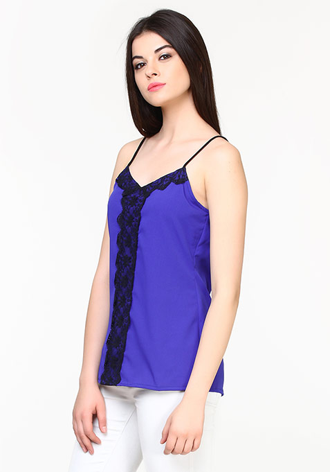 Lace Down Cami - Blue