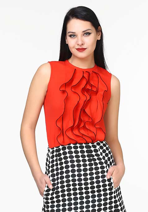 Crazy Ruffles Blouse - Red