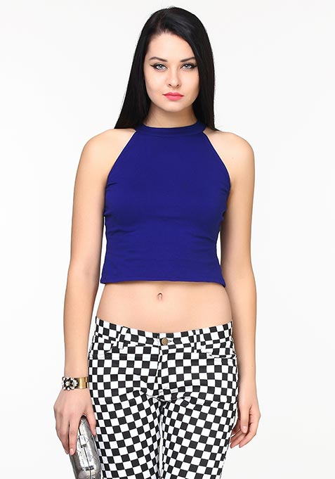 Closed Neck Crop Top - Blue