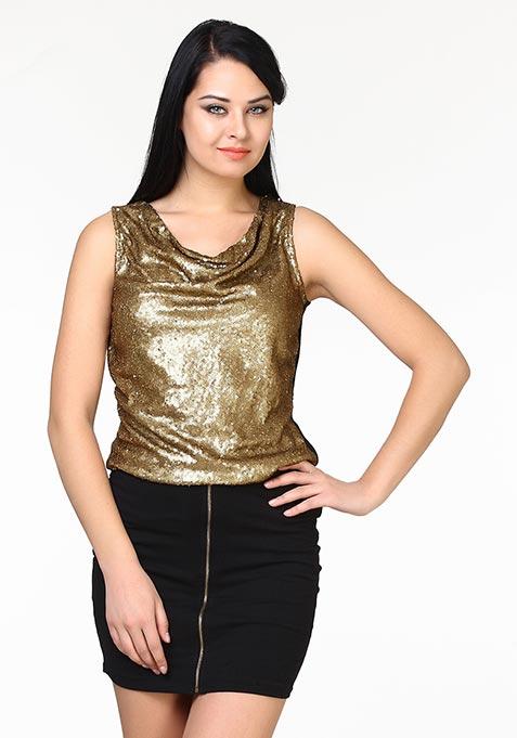 Sequin Drape Top - Copper