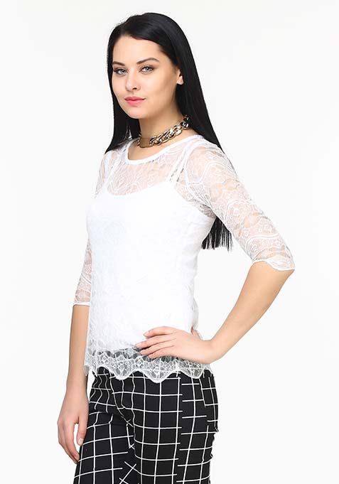 Sheer Chic Lace Top - White