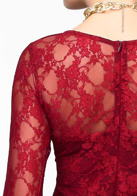 Lace Spell Top - Oxblood