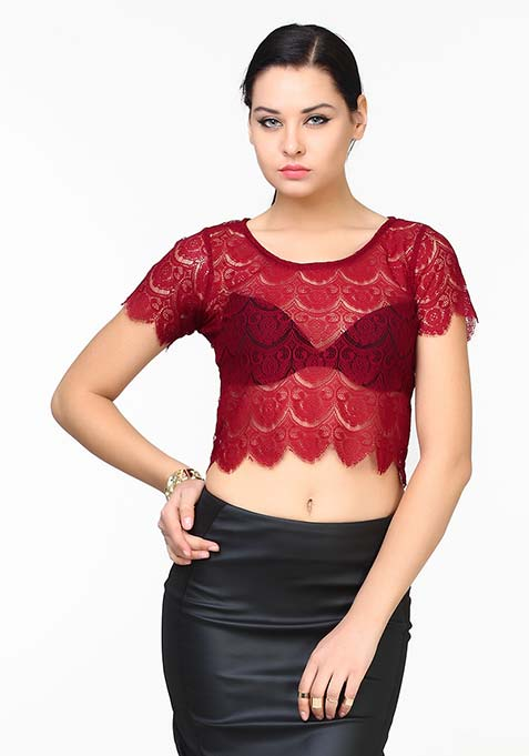 All That Lace Crop Top - Oxblood