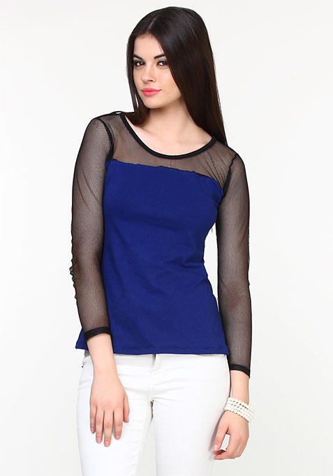 Mesh Tales Top - Blue