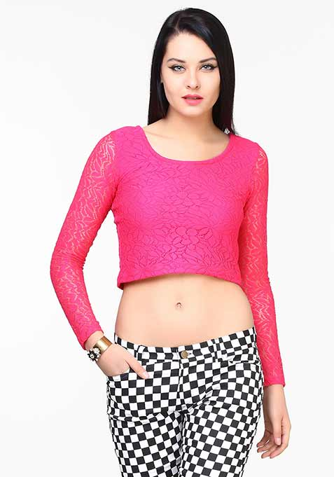 Naughty Lace Crop Top - Pink