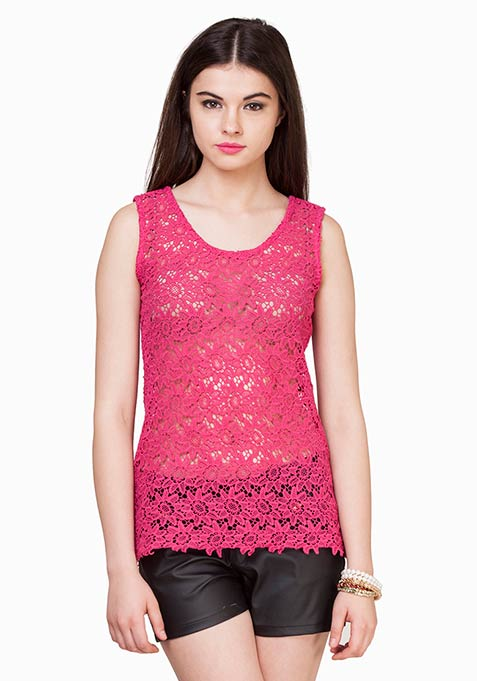 Crochet Chic Top - Pink