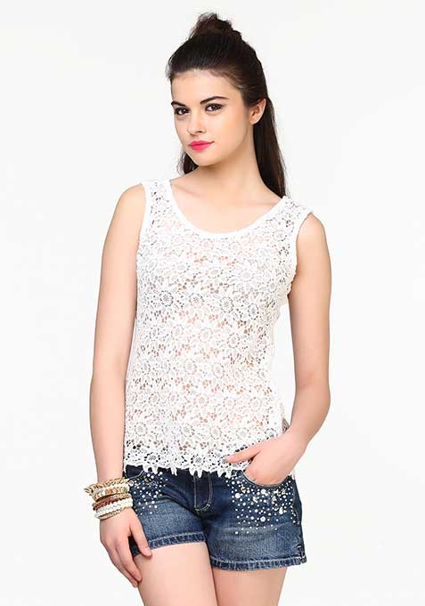 Crochet Chic Top - White