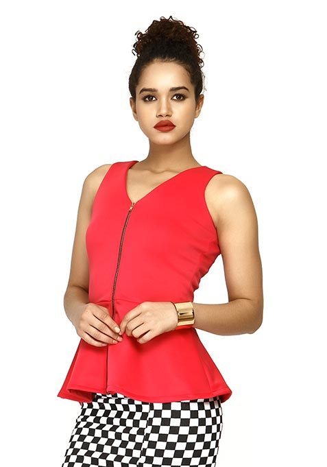 Zip Me Up Scuba Peplum Top - Pink