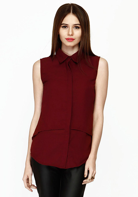 Layered Love Shirt - Oxblood