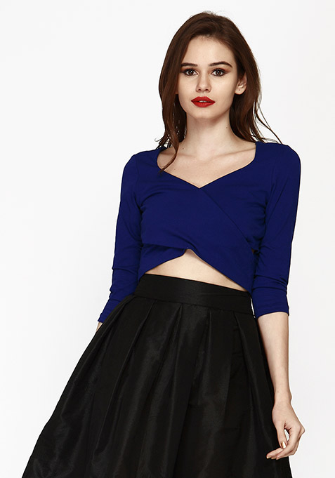 Cut Away Crop Top - Blue