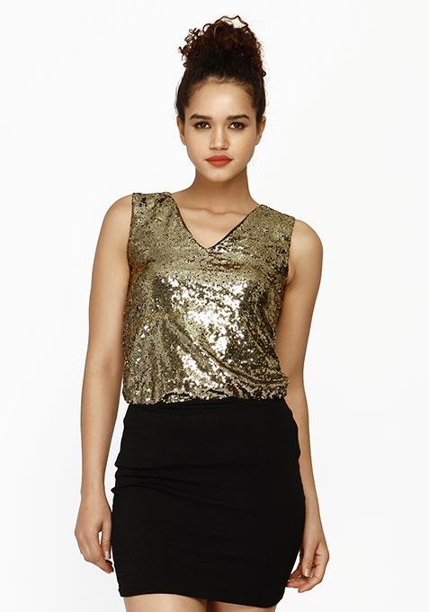 Sequin Shine Top - Copper