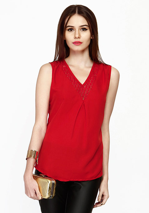 Lace Filling Blouse - Red