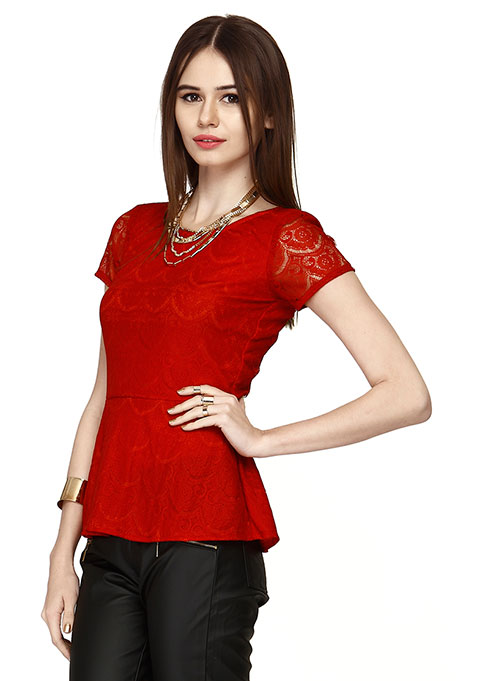 Get Laced Peplum Top - Red