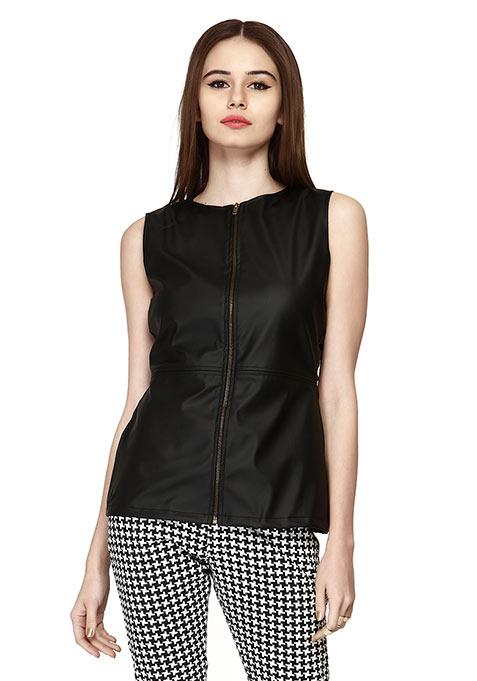 Leather Zip Gilet Top - Black