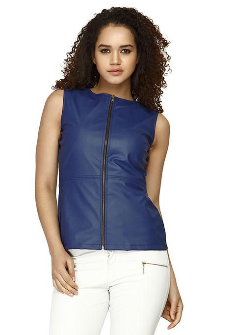 Leather Zip Gilet Top - Blue