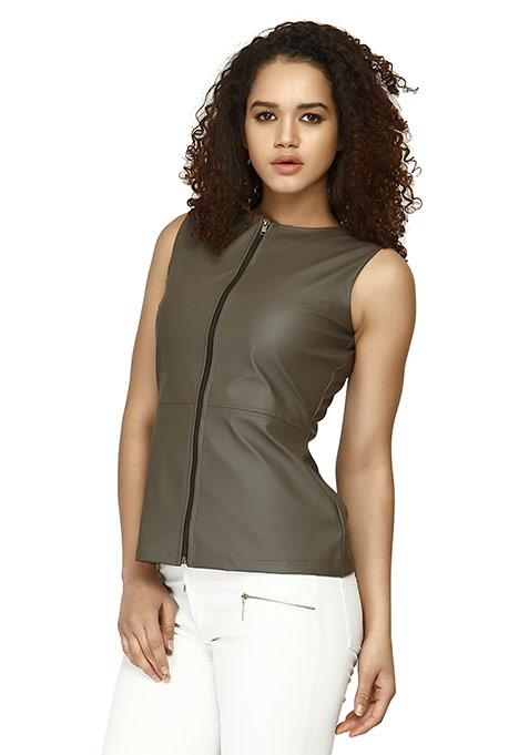 Leather Zip Gilet Top - Grey