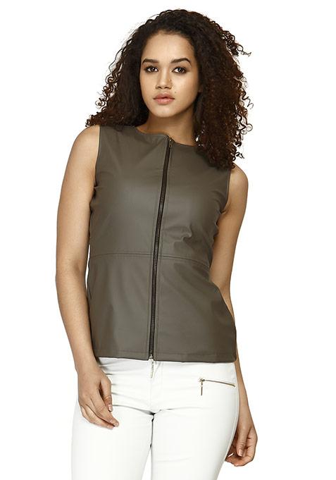 Leather Zip Gilet Top - Grey